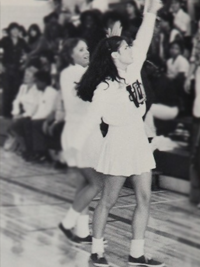 Sandra Bullock high school cheerleading photo
