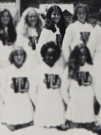 Sandra Bullock high school cheerleading squad yearbook photo